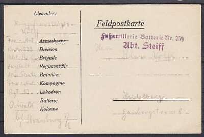 Feldpost Fußartillerie Batt. 259 Abt. Steiff Karte - Heidelberg 1915, WWI Batt Post