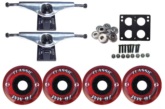 KRYPTONICS CLASSIC Truck Wheel Pack 76mm RED Core 6.0 Silver