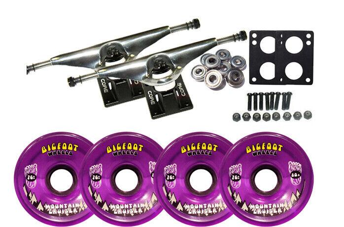 LONGBOARD Trucks/Wheels/Bearings SILVER 7.0 + BIGFOOT 76MM CRUISERS PURPLE