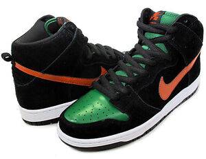 Nike-Dunk-SB-High-Pro-SB-Jagermeister-Black-Orange-Green-305050-009-Men-Sz-Shoes
