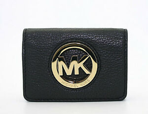 NWT-Michael-Kors-Leather-Fulton-Card-Case-Wallet-in-Black