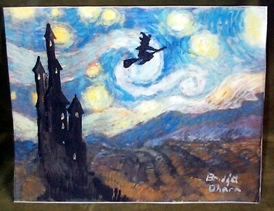 VINCENT VAN GOGH STARRY NIGHT FLYING WITCH HALLOWEEN PRINT