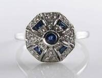 Class 9k 9ct White Gold Blue Sapphire Diamond Art Deco Ins Ring Free Resize -  - ebay.co.uk