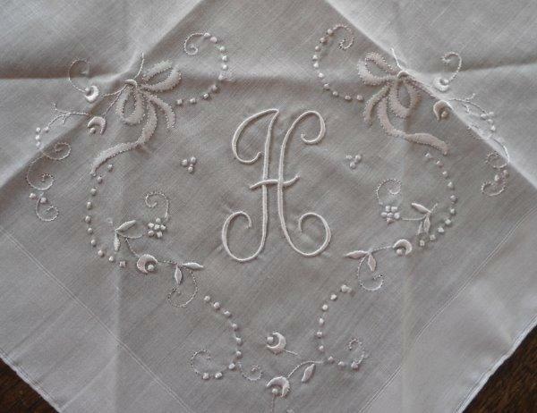 Vintage Madeira Wedding Hanky Monogram H White Embroidery Bridal