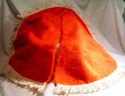 "Christmas - Traditional Red Tree Skirt w-White Fringe Trim - 28"" Round"