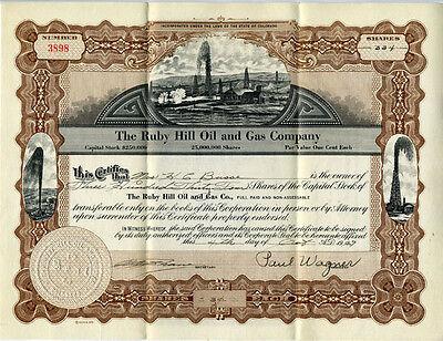 1929 Stock Certficate Ruby Hill Oil & Gas Company Colorado