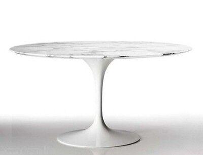 """mid century modrn danish  47"""" saarinen tulip style round marble dining table"""