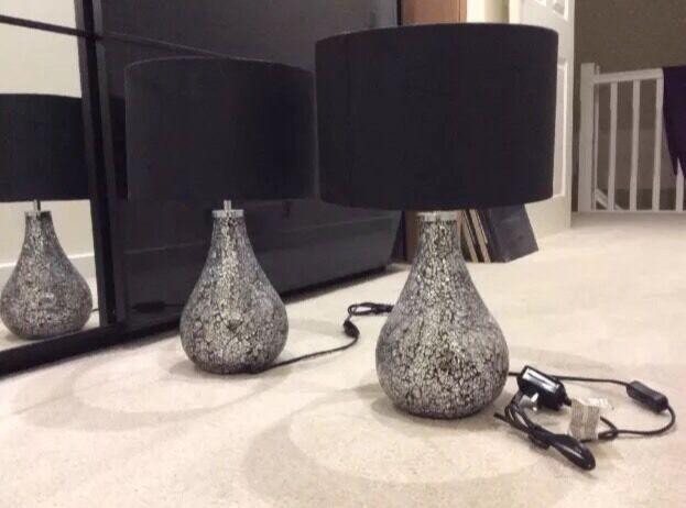 Heart Of House Eloise Table Lamps Pair Black Crackle ( Argos / Homebase )