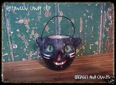 eeeks..HALLOWEEN BLACK CAT NUT CANDY CUP VTG Paper Mache Jack-o-Lantern Style
