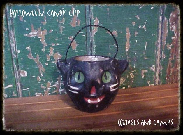 eeeks..HALLOWEEN BLACK CAT NUT CANDY CUP VTG Paper Mache Jack-o-Lantern Style
