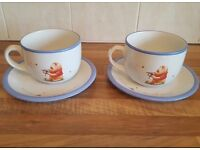 Large Winnie the Pooh Coffee Cups and Saucers