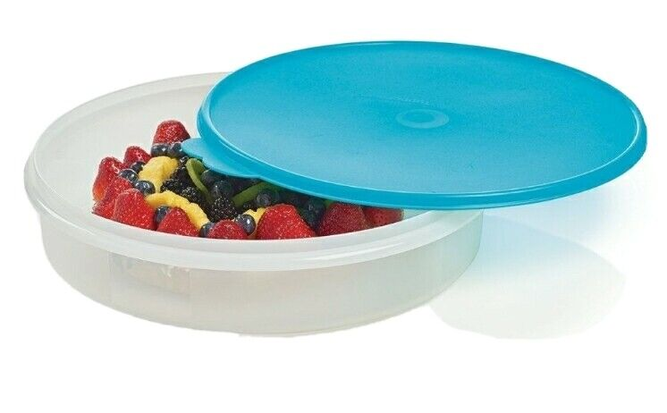 """Tupperware12"""" Pie Keeper Taker Round Container Cookie Cupcake Aqua Blue NEW"""