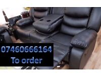 3 and 2 seater leather recliner sofa 74