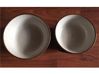 DENBY BOWLS Two Different Sizes 12 In Total Cream Brown Tan