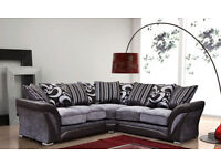 CLASSIC OFFER SHANON SOFA 3 AND 2 SEATER SOFA OR CORNER SOFA AVAILABLE IN BLACK AND GREY COLOUR
