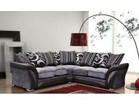 BRAND NEW DFS SHANNON CORNER OR 3+2 SOFA FREE CUSHIONS,POUFFE + CHROME FEET