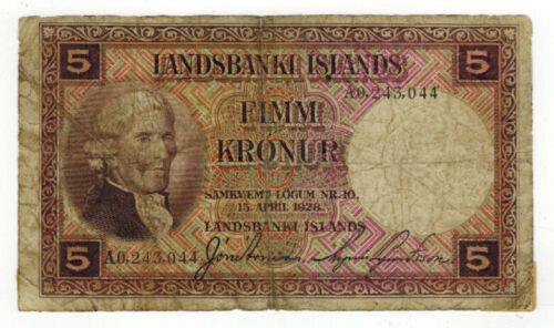 1928 Iceland 5 Kronur Note P27b Discounted for Condition