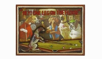 Ram R327 Wooden One Leg on Floor Dog Billiard Pub Sign 3D Art with FREE Shipping
