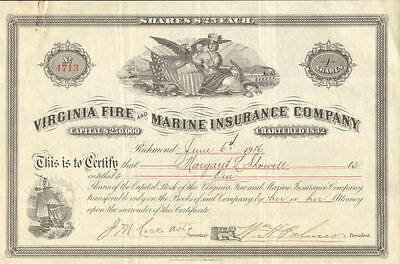 Virginia Fire and Marine Insurance Co stock certificate