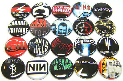 "20 INDUSTRIAL BANDS - ONE Inch Buttons 1"" Pins Badges Pinbacks - Techno Goth ALT"
