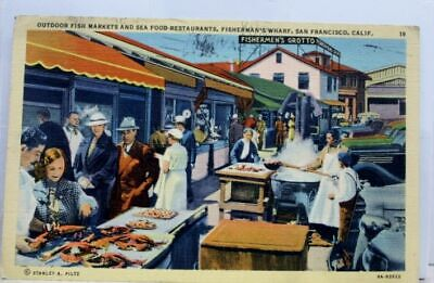 California CA San Francisco Fisherman's Wharf Outdoor Fish Markets Postcard Old  Old California Postcards