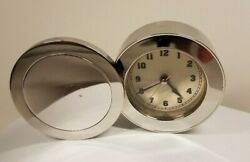 Solid Brass Swivel Alarm Clock for Bedside or Travel - Chrome Plated