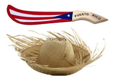 Set Puerto Rico Adult Jibaro Pava Hat + PR Flag Wood Machete * FREE SHIPPING *
