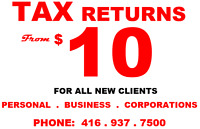 TAX RETURNS- From $10
