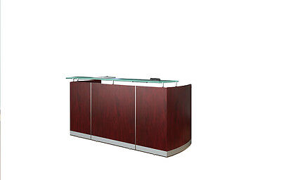 Mahogany Laminate Reception Desk Textured Glass Counter With No Drawers