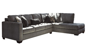 Sectional Sofa, gray poly fiber fabric, only 10 months old