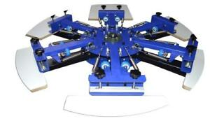6 Color 6 Station Screen Printing Machine Double Rotary Press Printer 006438