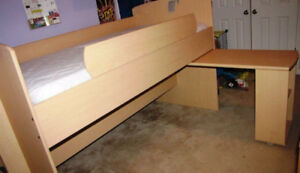 Childrens single bed with pull out desk 350.00