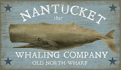 Nantucket Whale Wood Sign - 15x26
