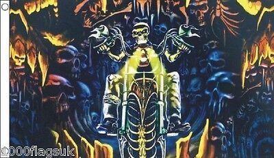Death Rider Biker Skull Dark Fantasy 5'x3' - Skull Biker Kostüme