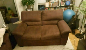 Couch and love seat - brown microsuede