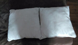 2 light beige micro-fiber couch pillows