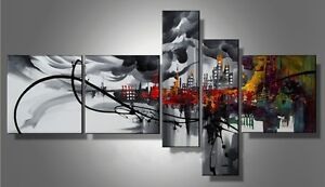 5P MODERN ABSTRACT HUGE WALL ART OIL PAINTING ON CANVAS No frame