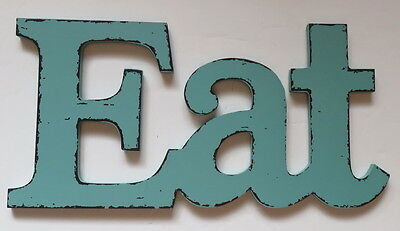 Eat Kitchen Decor Dining Room Wall Vintage Style Plaque Sign Aqua Wood