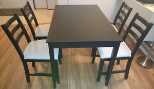 Ikea Table and 4 chairs, black-brown