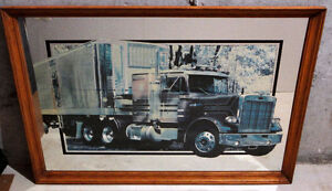 Wooden framed decorative mirror back truck print wall hanging London Ontario image 4