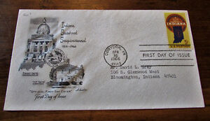 1966 Indiana Statehood Sesquicentennial 5 Cent First Day Cover Kitchener / Waterloo Kitchener Area image 1