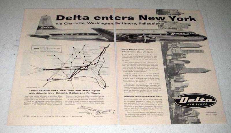 1956 Delta Air Lines Ad - Enters New York