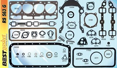 Ford 239 Y-Block Full Engine Gasket Set/Kit BEST Head+Intake+Oil Pan 1954 EBU