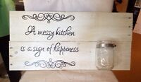 Reclaimed wood signs with attached mason jar