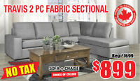 Travis 2pc Canadian Made Fabric Sectional, Now $899 Tax Included