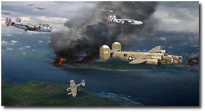 Mission to Balikpapan by Jack Fellows - B-24 Liberator - Aviation Art Prints