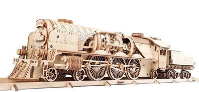 UGEARS V-Express Dampflokomotive mit Tender mechanisches Modell Bausatz #70058