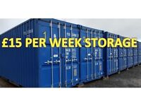 SELF STORAGE Brand new 20ft container storage. Secure with 24/7 access. £15.00 per week