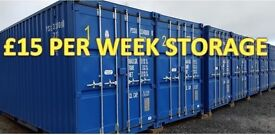 Self storage in brand new 20ft containers. Secure with 24/7 access. £15.00 per week