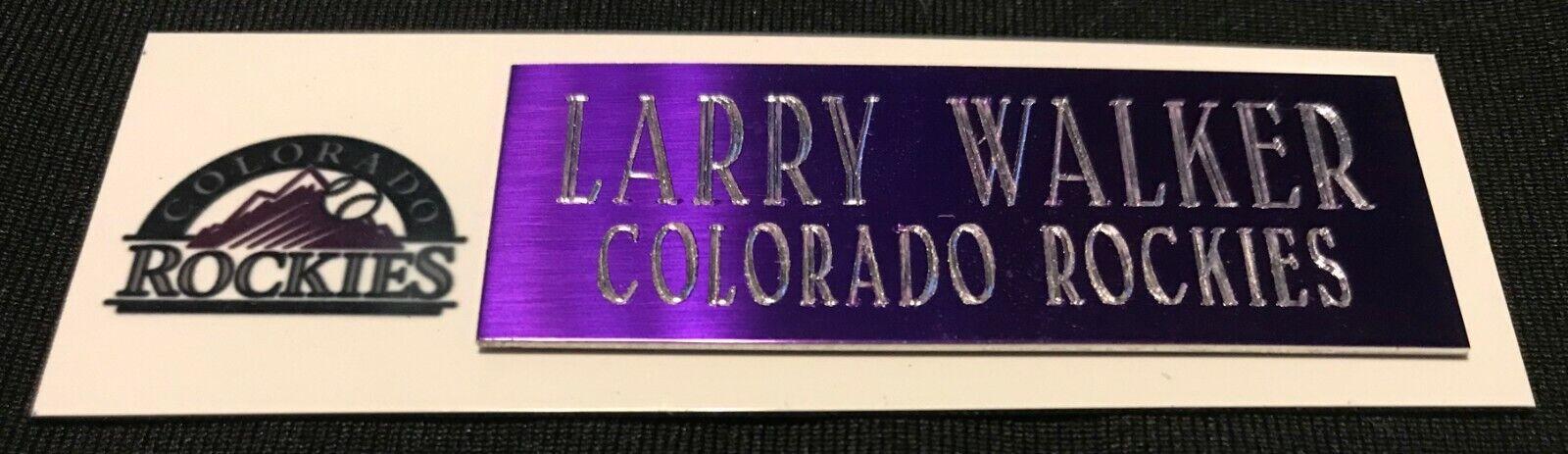 LARRY WALKER COLORADO ROCKIES  NAMEPLATE FOR BASEBALL/MINI H